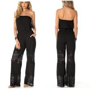 NWT Becca Black Lace Strapless Cover Up Jumpsuit M